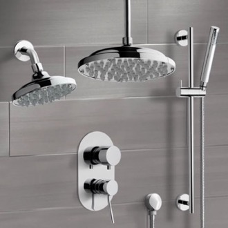 Chrome Dual Shower Head System With Hand Shower Remer DCS03